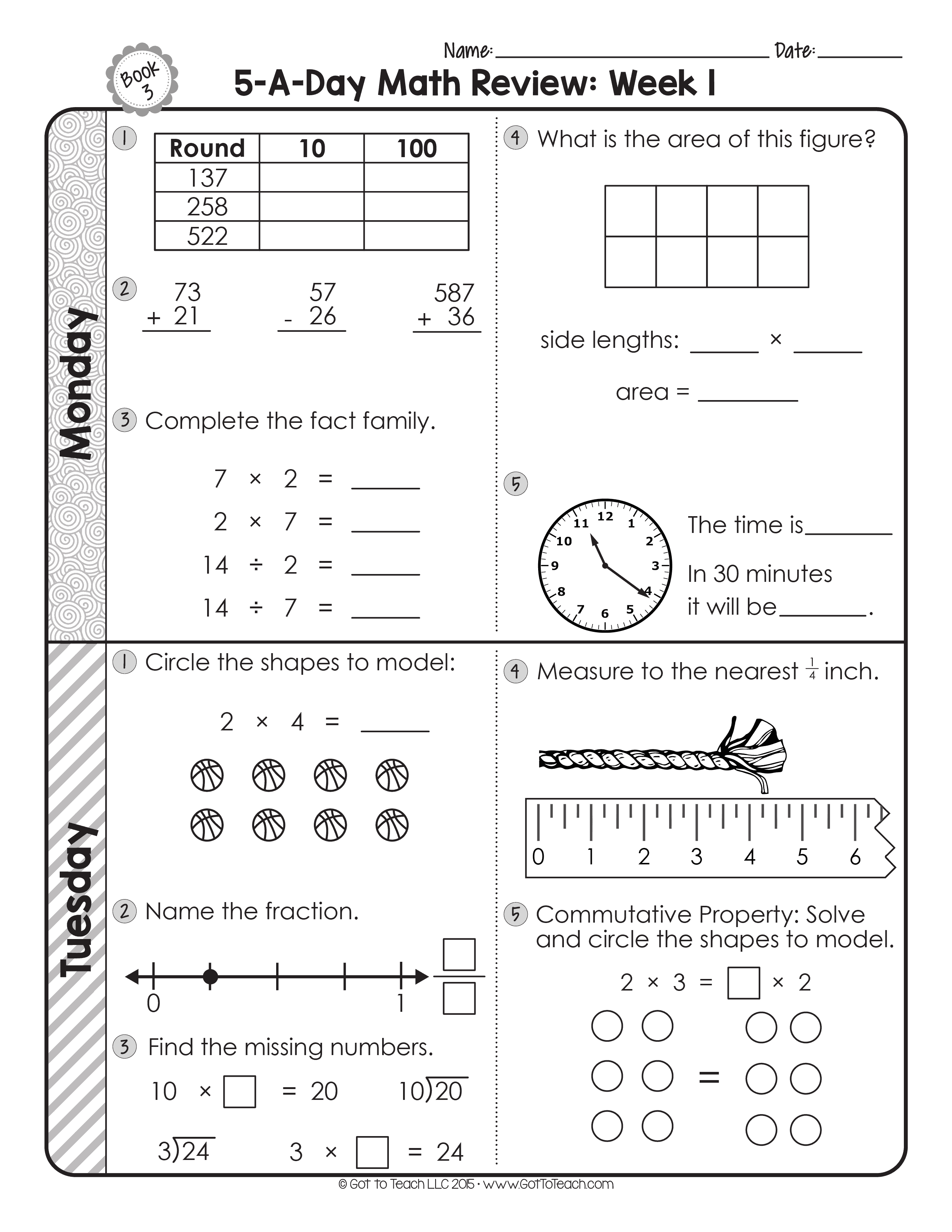 fourth grade math review worksheets